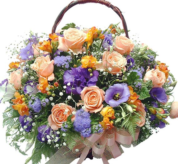 Корзинка с цветами в 72 35х38 роза 19 шт
