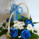 Корзинка с синими розами