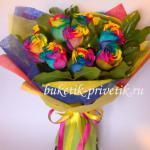 Букет радужные розы