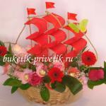 Корабль из цветов и кофет