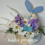 Корзинка с цветами Зайка