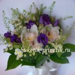 Букет невесты из орхидей и эустомы