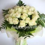 Белый букет роз