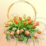 Корзинка с 25 тюльпанами